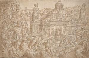 Het bouwen van de tempel van Diana te Efeze met een koning die de vorderingen beziet