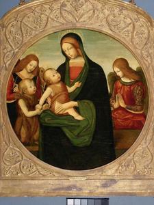 De Madonna en het Kind met Johannes de Doper als kind met engelen