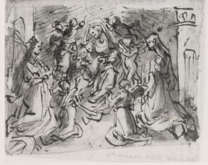 Maria met kind, de H. Catharina van Alexandrië, de H. Barbara en engelen
