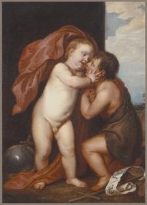 Het Christuskind omhelst Johannes de Doper als kind