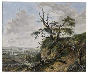 Panoramisch berglandschap met figuren
