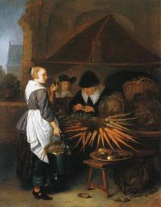 Jonge vrouw en een jongen bij een marktkraam met een groenteverkoopster