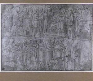Boven: ontmoeting tussen een veldheer en vrouwen; onder: ontvangst door een vorst en een onthoofding