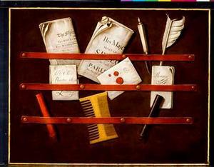 Trompe-l'oeil van een brievenbord met een kam