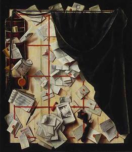 Trompe l'oeil van een brievenbord met een muziekboek
