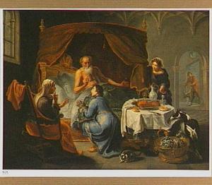 Jacob ontsteelt Esau  door list en bedrog Isaaks vaderlijke zege (Genesis 27:27)