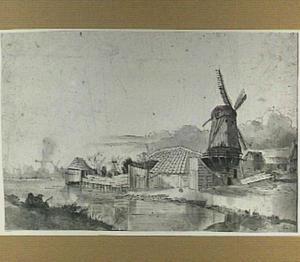 Landschap met schuren en windmolens