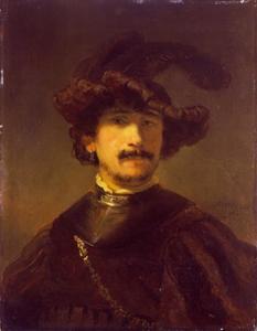 Borststuk van man met een halsberg en een gepluimde baret