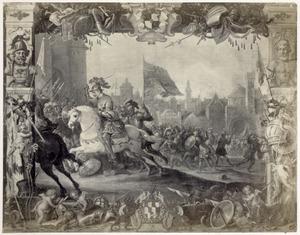 Don Antonio Moncada verjaagt de rebellen, die koningin Bianca van Sicilië in haar paleis belegeren (1410)
