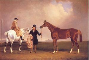 Mr.Sadler's Decisive en zijn trainer samen met John Day jr. op zijn rijpaard in Stockbridge
