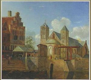 Stadsgezicht, mogelijk Keulen met de St. Maria im Kapitol