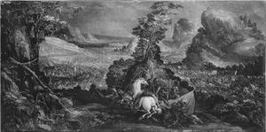 De Israëlieten verslaan de Amalekieten, omdat  Aäron en Hur Mozes' armen ophouden (Exodus 7:8-16)