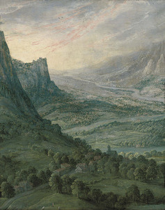 Panoramisch landschap met bergen en rivierdal