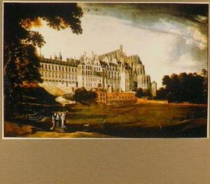 Gezicht op het Coudenberg-paleis in Brussel met aartshertogin Isabella en haar gevolg