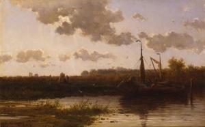 Polderlandschap met aangemeerde zeilboot