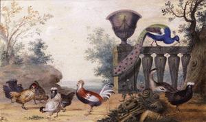 Vogels in een parklandschap, rechts een pauw op een balustrade