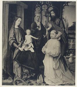 Tronende madonna met de heiligen Hieronymus en Johannes de Doper en een knielende karthuizer monnik