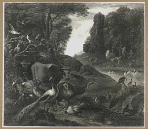 Flora en fauna in het aards paradijs, op de achtergond de zondeval (Genesis 2 / 3:6)