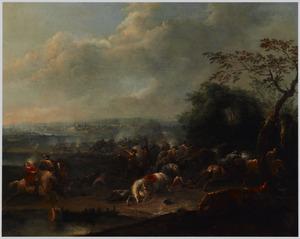 Landschap met een veldslag, in de verte een stad