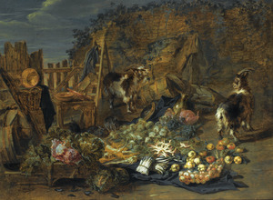 Stilleven van groente en fruit, met konijnen en geiten in een landschap bij de resten van een oude schuur