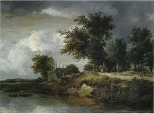 Rivieroever in boslandschap