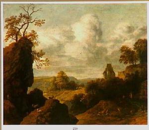 Berglandschap met geiten; rechts op een bergtop een kasteel