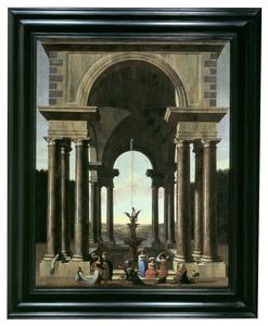 Een portico met een elegant gezelschap