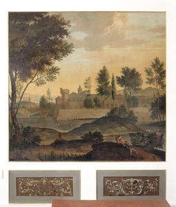 Arcadisch landschap met gezicht op de wallen van een stad