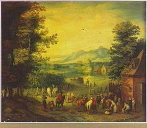 Landschap met druivenoogst