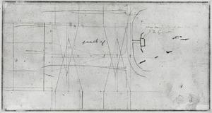 Schetsmatige plattegrond van de zaal van Jan de Groot met wanden in opstand en paneelindeling