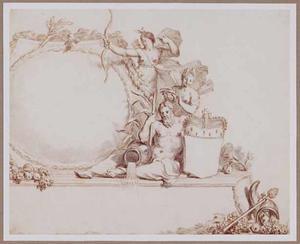 Cartouche met Artemis en riviergod