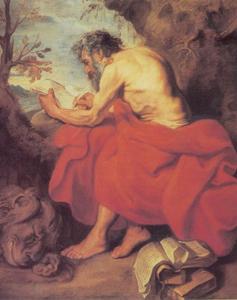 De H. Hieronymus studerend in de wildernis