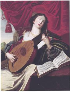 De vijf zintuigen: Luitspelende jonge vrouw, allegorie op het Gehoor