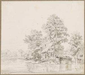 Bebost landschap met een boerderij bij een meer