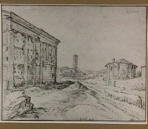 Rome, Piazza della Bocca della Verità (Forum Boarium), met tempel van de Fortuna Virilis (Santa Maria in Egiziaca), Santa Maria in Cosmedin en de tempel van Hercules Victor (Santo Stefano delle Carrozze)