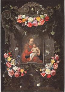 Cartouche met bloemguirlandes rondom een voorstelling van de Maagd Maria met het Christuskind