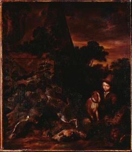 Landschap met jongen en hond