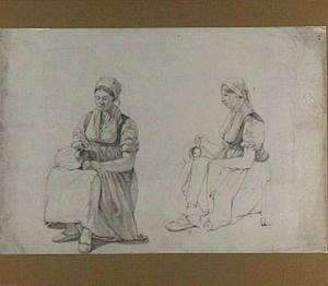 Twee studies van een zittende vrouw met beker en kan