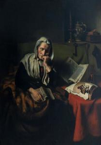 Oude vrouw slapend met een boek in haar schoot