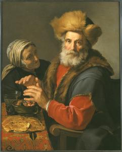 Oude man en vrouw zich de handen warmend boven een komfoortje: allegorie op de winter