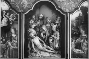 De annunciatie (links), de bewening (midden), de geboorte (rechts)