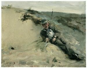 Portret van Ralph Curtis op het strand van Scheveningen