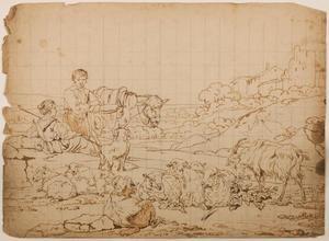 Rustend herderspaar met kudde in een bergachtig landschap