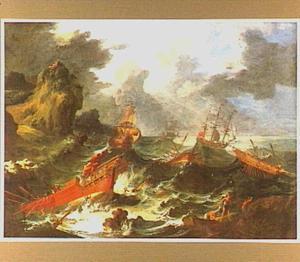 Zeeslag voor een rotsachtige kust
