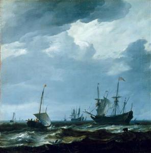 Schepen op open water met rechts een fregat