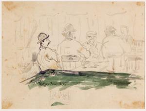 Kaartende mannen in café in Parijs