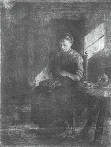 Young woman peeling potaties, etching