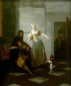 Vioolspeler en een jonge vrouw die met een hondje speelt