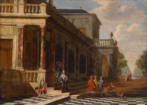 Elegant gezelschap op het bordes van een imaginair paleis
