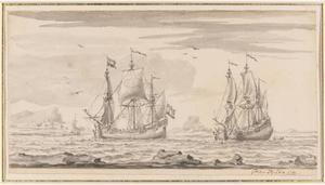 Twee driemasters op zee in een baai voor een rotskust